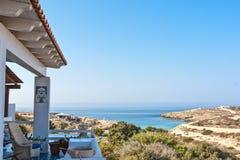 Sikt av det Lampedusa havet vid balkongen royaltyfri fotografi
