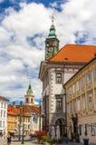 Sikt av det Ljubljana stadshuset, Slovenien Royaltyfri Fotografi