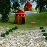 Sikt av det medeltida monterade militära lägret Royaltyfri Fotografi