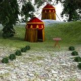 Sikt av det medeltida monterade militära lägret Arkivfoto