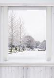 sikt av det snö täckte landskapet Royaltyfri Bild