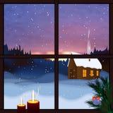 sikt av det snö täckte landskapet Snöig landskap, sikt från fönstret Fallande snö, vintergryning, glad jul för snöskog och lyckli stock illustrationer