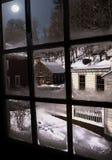 sikt av det snö täckte landskapet Arkivfoton