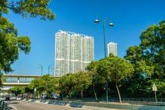 Sikt av det Tung Chung området av Hong Kong på den Lantau ön royaltyfri bild