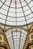Sikt av det vittorioemanuele gallerit i milan, Italien Arkivfoton
