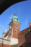 Sikt av det Wawel slottet i Krakow, Polen Royaltyfri Fotografi