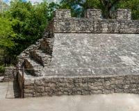 Sikt av detaljerna av en Mayan pyramid royaltyfri fotografi
