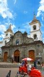 Sikt av domkyrkan av Ibarra Denna kyrka byggdes efter jordskalvet av Ibarra i 1868 Royaltyfri Foto