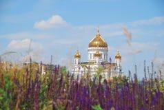 Sikt av domkyrkan av Kristus frälsaren i Moskva Arkivfoton