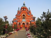 Sikt av domkyrkan av den Kazan symbolen av modern av guden i staden av Irkutsk royaltyfri bild