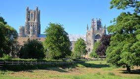 Sikt av domkyrkan från Cherry Hill Park i Ely, Cambridgeshire, Norfolk, UK arkivfoto