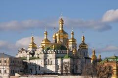 Sikt av domkyrkan i Kiev Pechersk Arkivbild