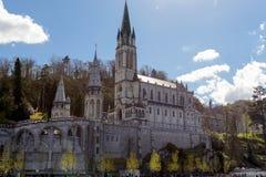 Sikt av domkyrkan i Lourdes, Frankrike Royaltyfria Foton