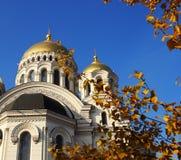 Sikt av domkyrkan med guld- kupoler över den guld- lövverket Arkivfoto
