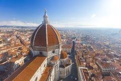 Sikt av domkyrkan Santa Maria del Fiore i Florence, Italien Arkivbild