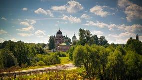 Sikt av domkyrkan av Vladimir Borodino, Mozhaysk område, Moskvaregion, Ryssland royaltyfria bilder