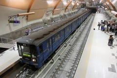 """Sikt av drev i tunnelbanastation i gångtunnel i Sofia, Bulgarien†""""juli 24, 2012 fotografering för bildbyråer"""
