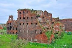 Sikt av droppfängelsefallet från det Golovina tornet i fästningen Oreshek nära Shlisselburg, Ryssland Royaltyfria Foton