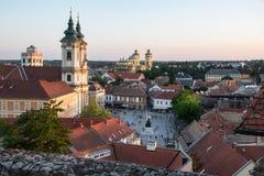 Sikt av Eger från slotten på solnedgången, Ungern Arkivbilder