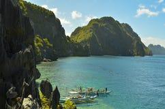 Sikt av El Nido Det är en 1st gruppkommun i landskapet av Palawan, Filippinerna arkivfoto