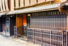 Sikt av en byggnad i den gamla staden, Kyoto, Japan Kopiera utrymme för text royaltyfri fotografi