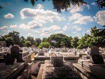 Sikt av en cementery i havannacigarr med den kubanska flaggan arkivfoto