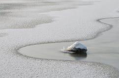 Sikt av en djupfryst flod med en sten i förgrunden arkivfoto