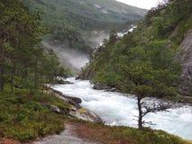 Sikt av en flod Vattenfall i baksidan Royaltyfri Fotografi