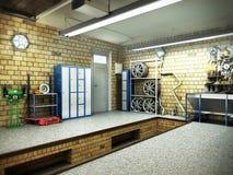 Sikt av en inre för garage 3D med den öppnade rulldörren 3D Renderin stock illustrationer