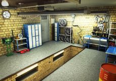 Sikt av en inre tolkning 3D för garage 3D Royaltyfri Foto