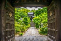 Sikt av en japansk tempel utöver dess träportar Royaltyfri Bild