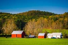 Sikt av en lantgård i det lantliga Shenandoahet Valley, Virginia Royaltyfri Fotografi