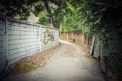 Sikt av en mörk ensam gata Arkivfoton