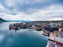 Sikt av en marina i Tromso, norr Norge Fotografering för Bildbyråer