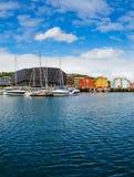 Sikt av en marina i Tromso, norr Norge Arkivfoto