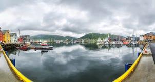 Sikt av en marina i Tromso, norr Norge Royaltyfria Foton