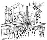 Sikt av en marknad i Paris nära Eiffeltorn royaltyfri illustrationer