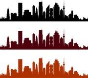 Sikt av en stad med skyskrapor Royaltyfri Illustrationer