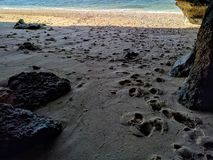 Sikt av en strand i bali, indonesia Arkivfoton