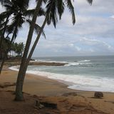 Sikt av en strand i Kovalam Arkivbild