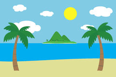 Sikt av en tropisk sandig strand med två gröna palmträd på havskusten med en ö med täckte kullar och berg Arkivfoto