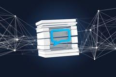 Sikt av ett 3D framfört blått Emailsymbol som visas i en skivad cu Royaltyfri Foto