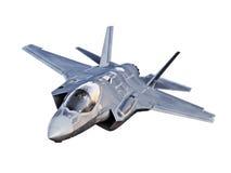 Sikt av ett flygplan för stråle som F35 isoleras på en vit bakgrund Fotografering för Bildbyråer