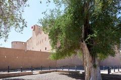 Sikt av ett forntida fort i Oman Arkivbild