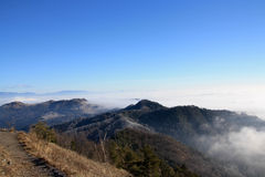 Sikt av ett hav av dimma arkivbilder