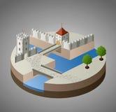 Sikt av ett medeltida slott royaltyfri illustrationer