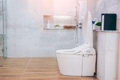 Sikt av ett rymligt och elegant badrum arkivbilder