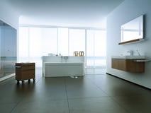 Sikt av ett rymligt och elegant badrum i Royaltyfri Bild