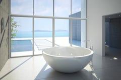 Sikt av ett rymligt och elegant badrum i Fotografering för Bildbyråer