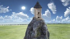 Sikt av ettberättelse torn på stenen Arkivfoto